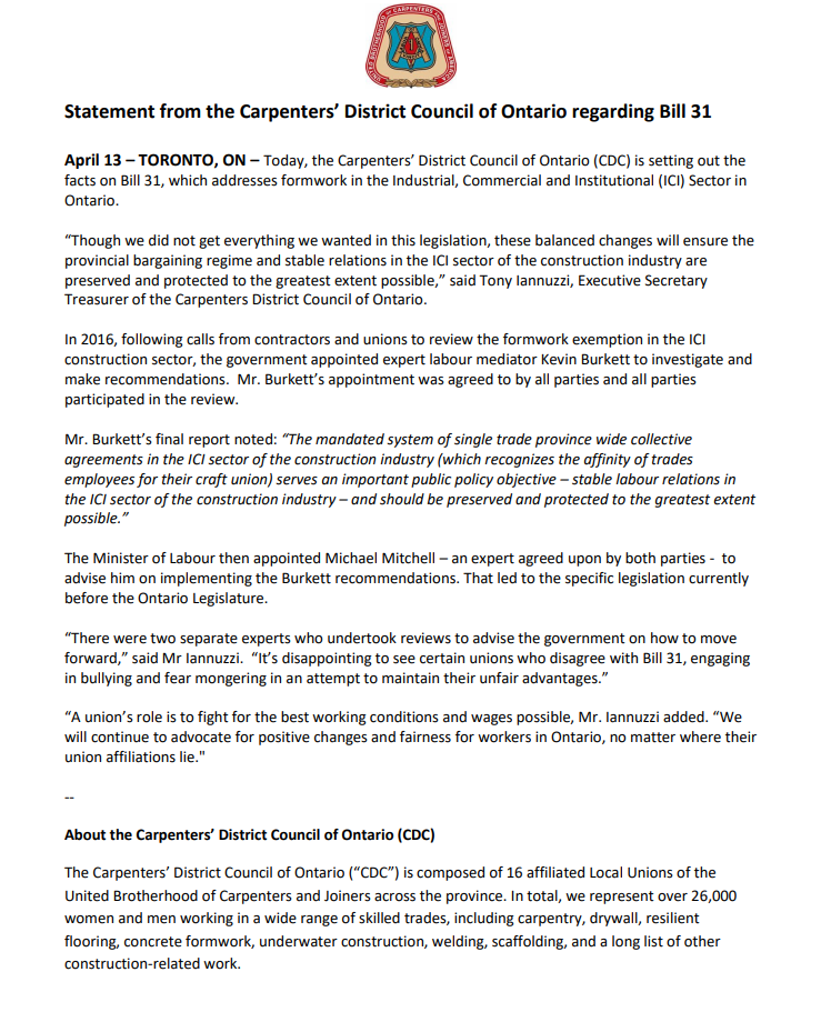 Statement from the Carpenters' District Council of Ontario regarding